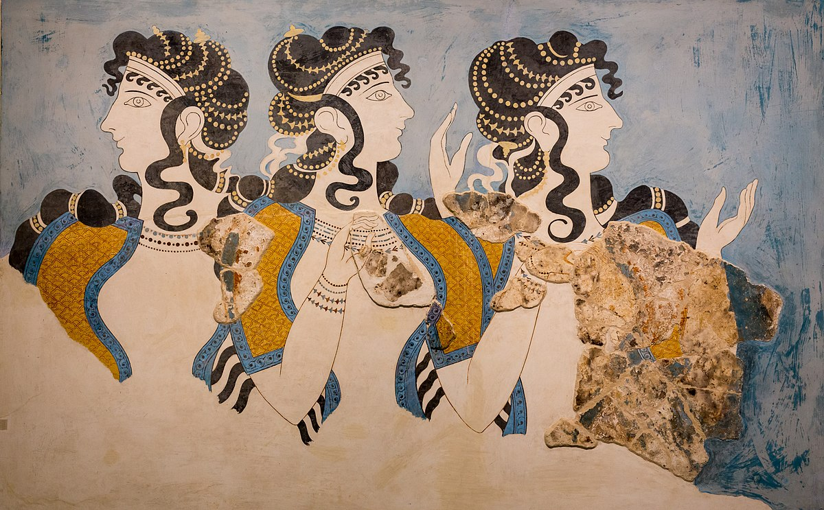 1200px Wall painting of three women Ladies in Blue from Knossos outside Royal Magazines Heraklion AM